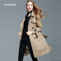 CHAOJUE Khaki Trench Coat for Women 2017 Spring/Autumn Loose Long Coat Plus Size 4XL Double Breasted Pea Coat Female Overcoat