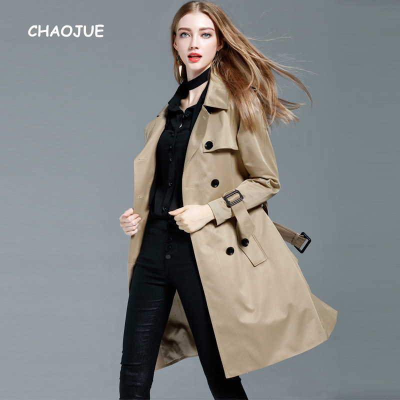 CHAOJUE Khaki   Trench   Coat for Women 2018 Spring/Autumn Loose Long Coat Plus Size 4XL Double Breasted Pea Coat Female Overcoat