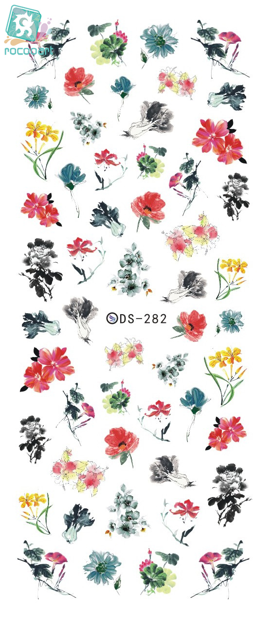 Rocooart DS282 Water Transfer Foils Nail Art Sticker Chinese Style Ink Paiting Flowers Manicure Decals Minx Nail Decorations rocooart dls377 382 water foils nail art sticker fashion nails cartoon harajuku sailor moon decals minx nail decorations