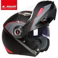 Free Shipping Flip Up Motorcycle Helmet LS2 Full Face Racing Helmet Green General Season Double Visor
