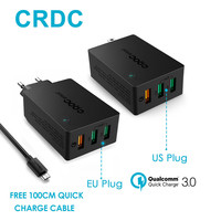 CRDC Quick Charge 3.0 USB Wall Charger 3 Port Smart Fast Mobile Charger For Xiaomi Samsung Galaxy S6 S8 Edge Note4/5 iPhone iPad