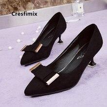 Cresfimix Vrouwen Pompen Women Black Classic High Quality Spring Slip on High Heel