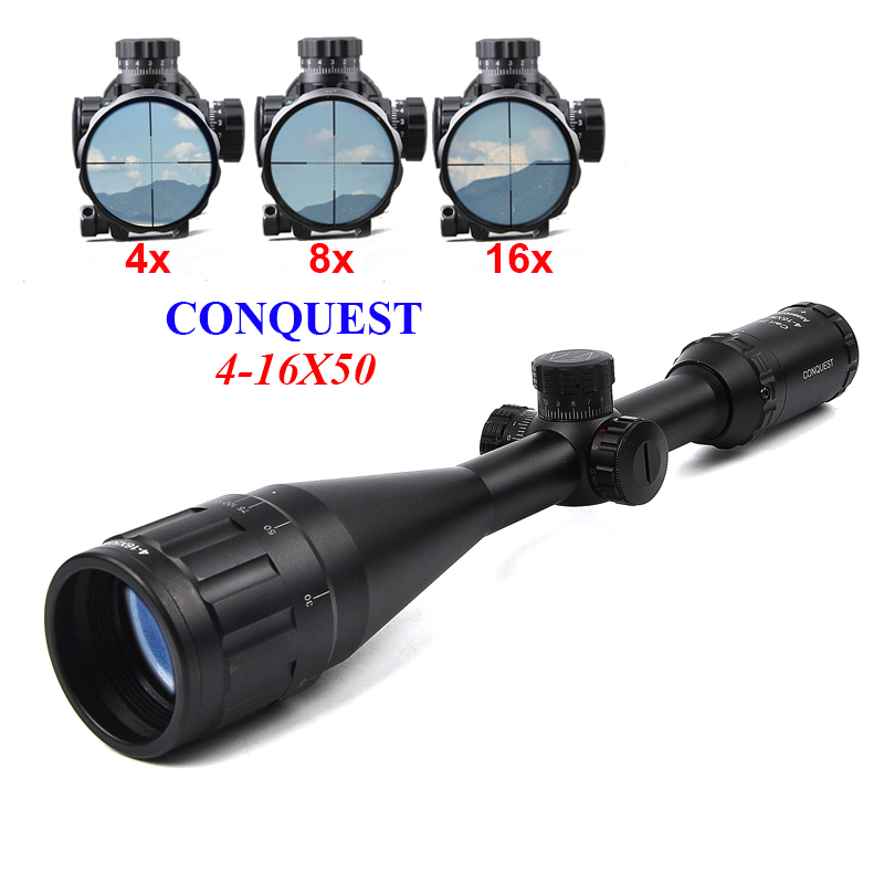 Conquest 4-16x50 Riflescope Optics Sight Scope Tactical Riflescope Night Hunting Scopes Airsoft Air Guns Hunting marcool alt 4 5 18x44 sfl with big wheel hunting optical sight airsoft air guns scopes riflescope for pistola airsoft air guns