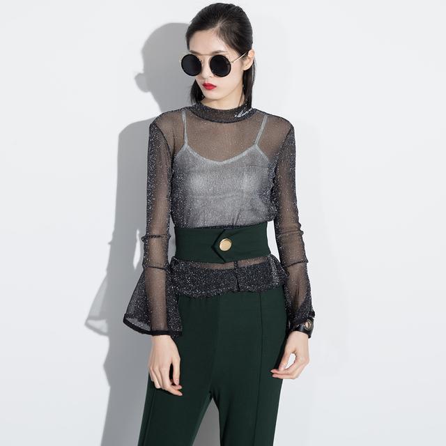 [Chicever] 2017 primavera t-shirt das mulheres de 2 peças set ouro malha perspectiva rufles + arnês colete new fashion clothing