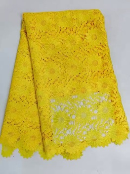 Embroidered LACE African Guipure French lace fabric High quality African tulle lace fabric for wedding AMZ655 YELLOW