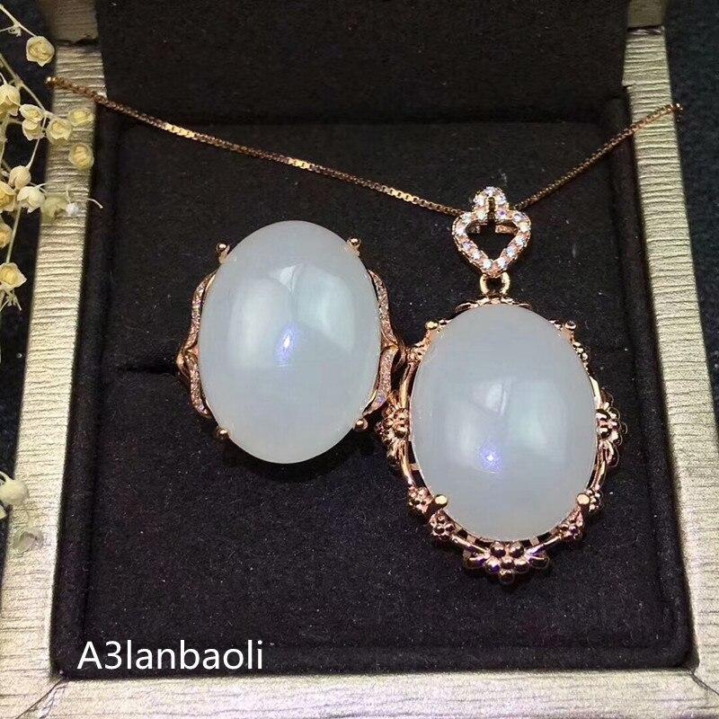 KJJEAXCMY Boutique bijoux 925 pur argent incrusté naturel blanc jade femme 2 costume plaqué or rose 18 k