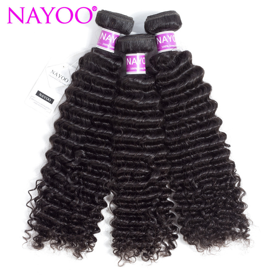 NAYOO Hair 3PC Indian Kinky Curly Hair Weave 100% Remy Human Hair Bundles 8-26 inch Natural Color Hair Weft