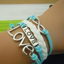 Handmade Leather Bracelet Sideway Love Letter Infinity Karma !