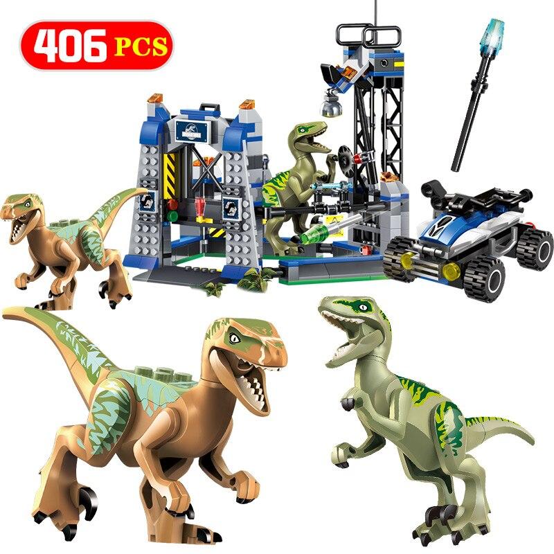 Technic Jurassic World Model Building Block Compatible Jurassic Series Raptor Escape Breakout Bricks Toys For Children Gifts