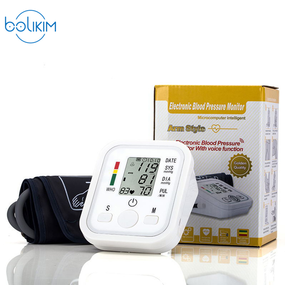 Home Care Digita LCD Arm Blood Pressure Monitor Tonometer Sphygmomanometer Aleti Gauge BP Monitor Heart Beat Meter Machine blood pressure monitor automatic digital manometer tonometer on the wrist cuff arm meter gauge measure portable bracelet device