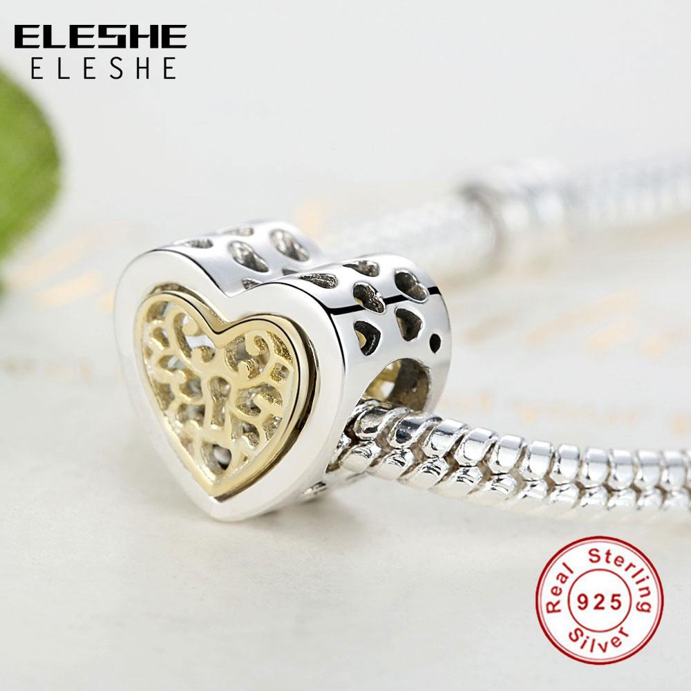 ELESHE Lüks marka 100% 925 Sterling Gümüş Ürək Yaraşıqlı - Moda zərgərlik - Fotoqrafiya 3