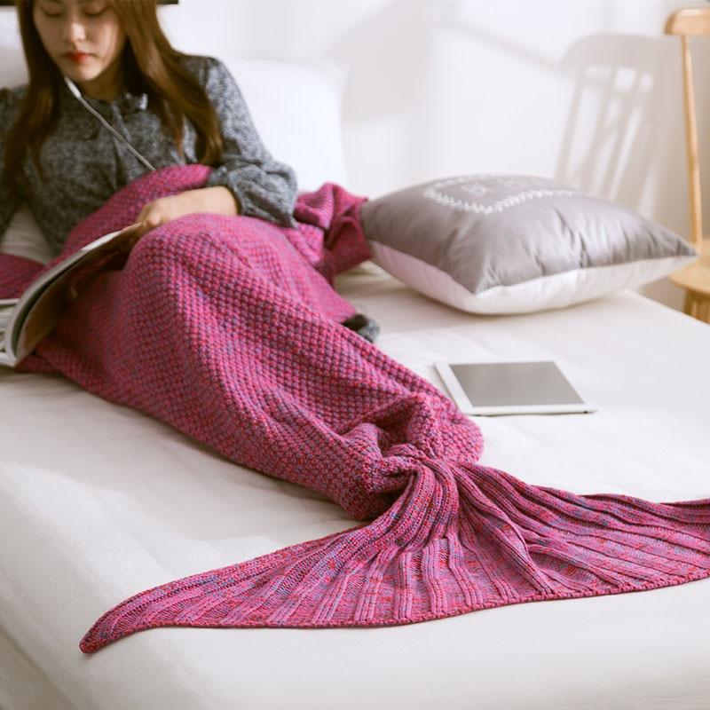 Mermaid Blanket Handmade Knitted Sleeping Wrap TV Sofa Mermaid Tail Blanket Kids Adult Baby crocheted bag Bedding Throws bag in Blankets from Home Garden