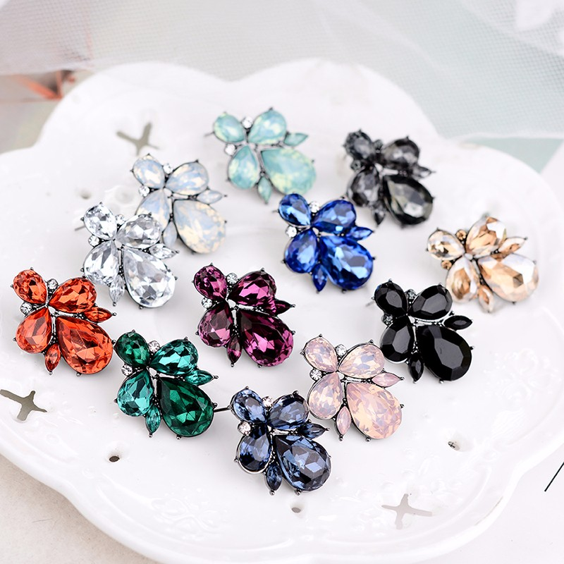 LUBOV Opal Stone Stud Earrings Fashion Crystal Women Earrings Christmas Party 2018 Brand Elegant Crystal Earrings For Women Gift
