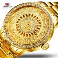 TEVISE Men Automatico Mechanical Watch Skeleton Zodiac Watches Self winding Waterproof Top luxury gold Clock Relogio Masculino