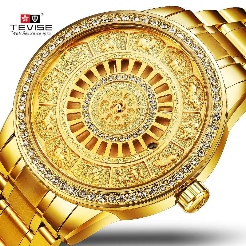 TEVISE Uomini Automatico Orologio Meccanico di Scheletro Zodiaco Orologi a carica automatica Impermeabile Top luxury gold Orologio Relogio Masculino
