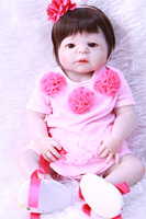 Full body silicone reborn baby dolls lifelike girl bebe 22 reborn bonecas child gift toys pink dress with shoes pacifier bottl