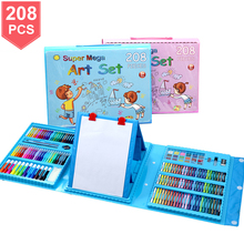 208 PCS 수채화 그리기 아트 마커 브러쉬 펜 세트 어린이 그림 미술 세트 도구 어린이 선물 상자 Office 편지지 용품