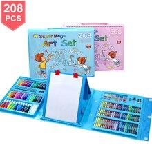 208 قطعة ألوان مائية رسم أقلام تلوين فرشاة مجموعة أقلام الأطفال اللوحة الفن مجموعة أدوات الاطفال للهدايا صندوق مكتب لوازم مكتبية