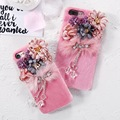 KISSCASE Lovely Plush Mink Fur + PC Case For iPhone 6 6s Plus 7 7 Plus Fashion Bling Rhinestone Pendent Flower Phone Case Coque