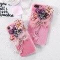 Kisscase lovely plush pele de vison + pc case para iphone 6 6 s além de 7 7 além da forma que bling strass pendente flor phone case coque