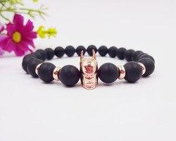 2016 8mm Naturel Pierre Onxy Rose Or Batman Bracelets Bracelets Noir Perles Élastique Femmes Bracelets Hommes Atolyestone Bijoux