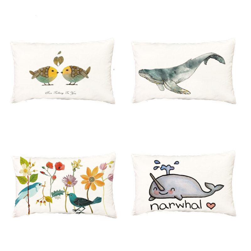 Popular Narwhal White Cushion Cover Cartoon Fox Owl Hedgehog Garden Decorative Throw Pillow Case Polyester Peach Skin Pillowcase