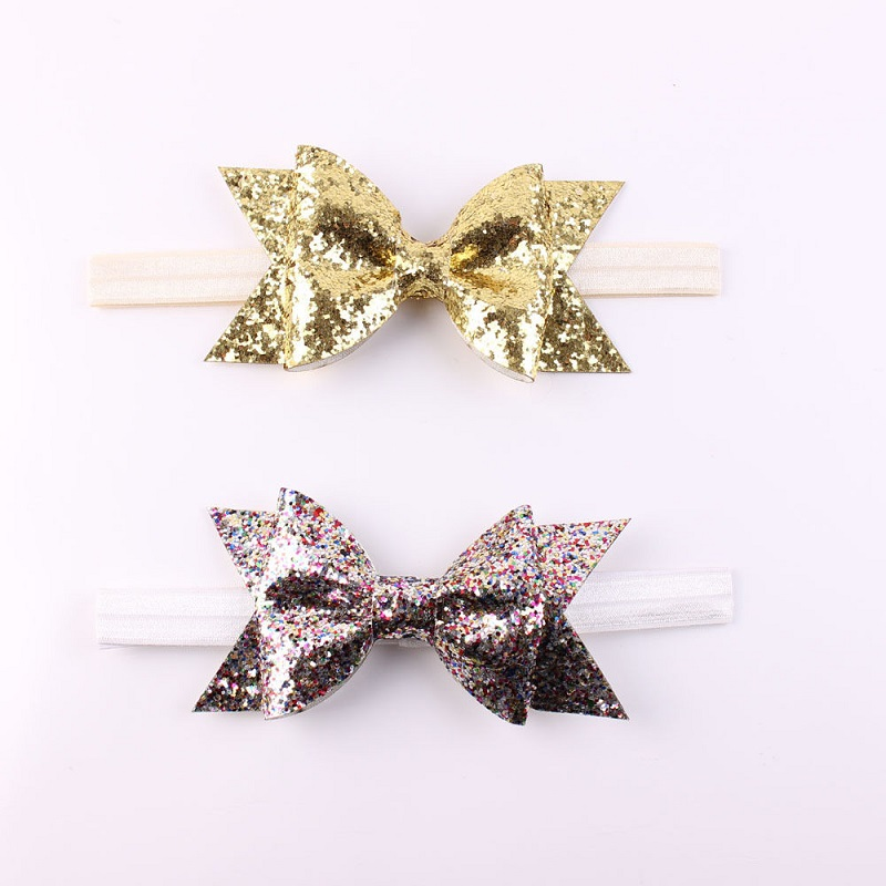2017 Children Flower Bow Glitter Elastic Headband For Girls Hair Accessories Gold Sliver Headbands Hairband free shipping 2 colors newborn kid girl elastic flower headband hairband hair accessories