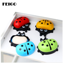 FEIGO New Brand Hot Selling Cute ladybug with lid Soap Dish Box Case Wash Shower Holder Container Home Bathroom F30