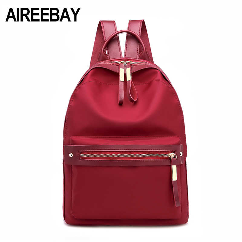 AIREEBAY Small Waterproof Nylon Women Backpack Fashion Red Shoulder Back Bag  Preppy Style Backpacks for Teenage 4b3fb070c785f
