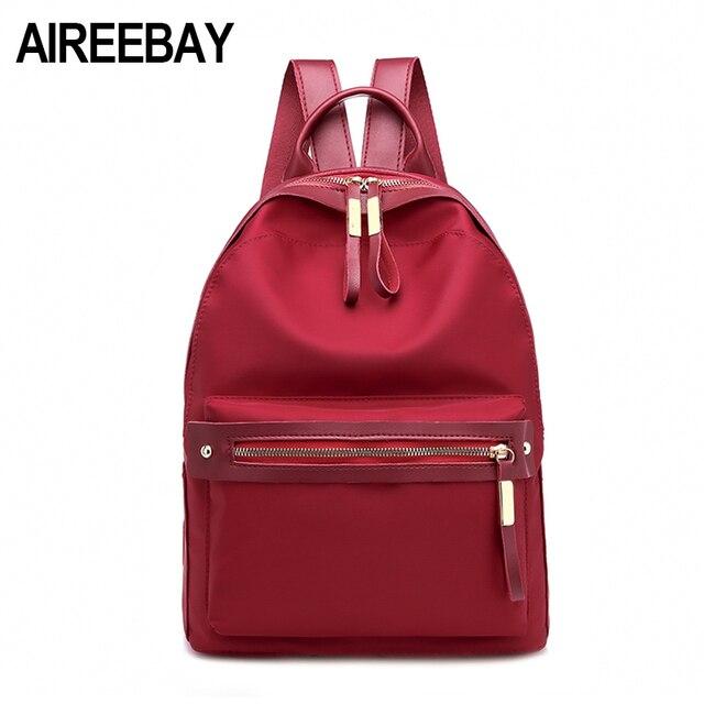 0e0be5136 AIREEBAY Small Waterproof Nylon Women Backpack Fashion Red Shoulder Back Bag  Preppy Style Backpacks for Teenage Girls Rucksack