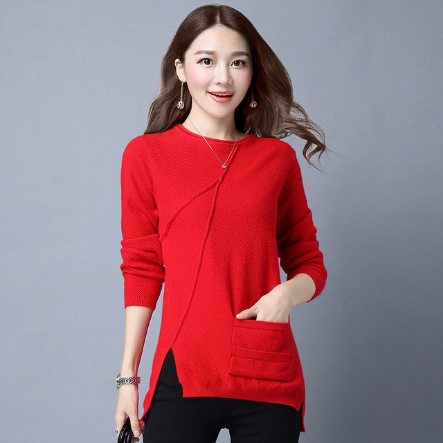 2017 New Autumn Winter Knitted Women Sweater and Pullovers Asymmetrical Length Solid O Neck Long Sleeve Pull Femme with Pocket