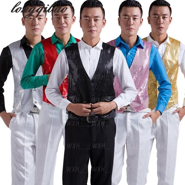 Lentejuelas stage trajes de rendimiento paillette masculinos hombres chaleco ropa del anfitrión mc mostrar mangas chalecos chaquetas