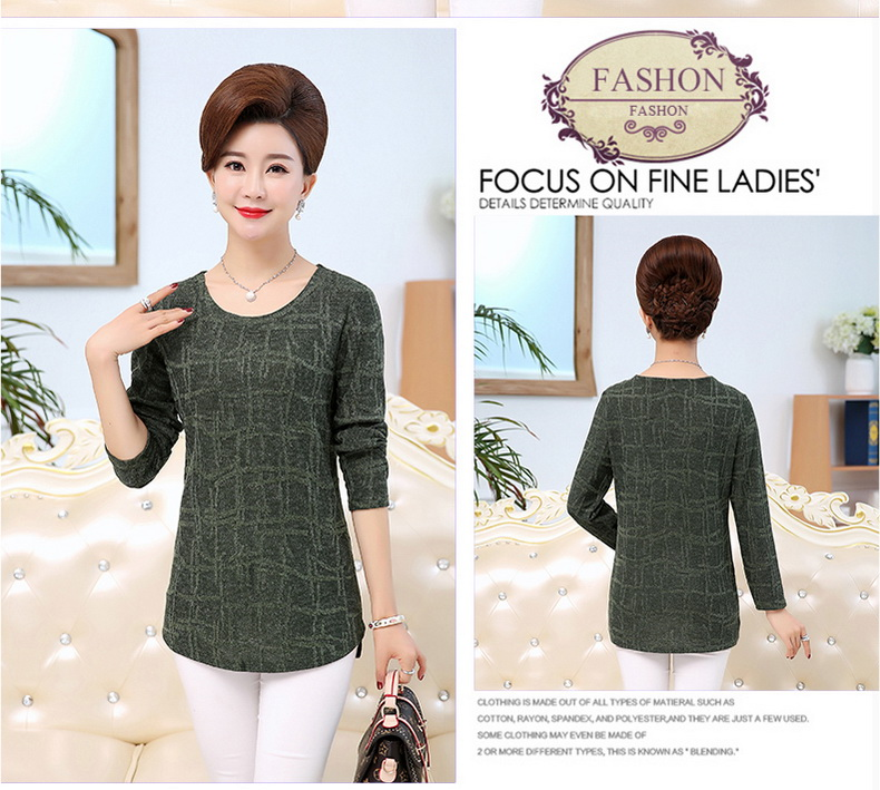 WAEOLSA Autumn Woman Basic Tops Red Khaki Green Knitted Blouses Middle Aged Womens Round Collar Tunic Mother Casual Blouses Plus Size Tops (11)