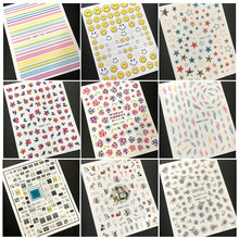 10 pieces lot Newest Fashion Wholesale design hanyi series export Japan 3d nail art sticker nail
