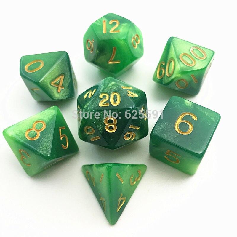 New 7pcs/set Mix Color Digital Dice Set RPG Dice D4 D6 D8 D10 D% D12 D20 Green