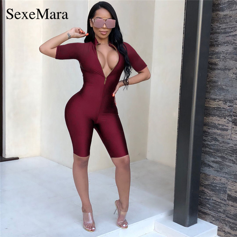 f87071984dd ANJAMANOR Sexy Deep V Neck Zipper Front Sexy Jumpsuit Women Burgundy  Bodycon Shorts Romper Playsuit Club Party Outfits D35-AZ40