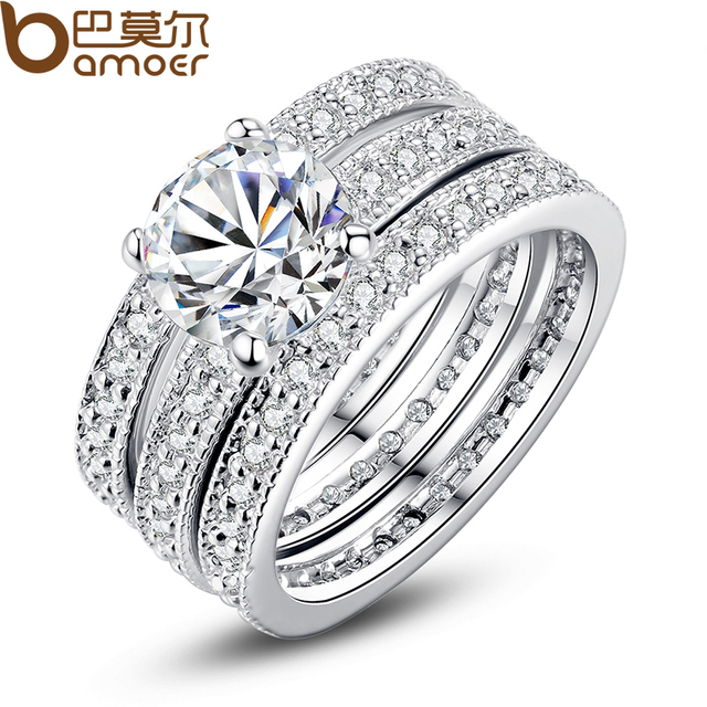 BAMOER Luxury Brand Fashion Silver Color Bridal Set Ring for Women with Paved Mi
