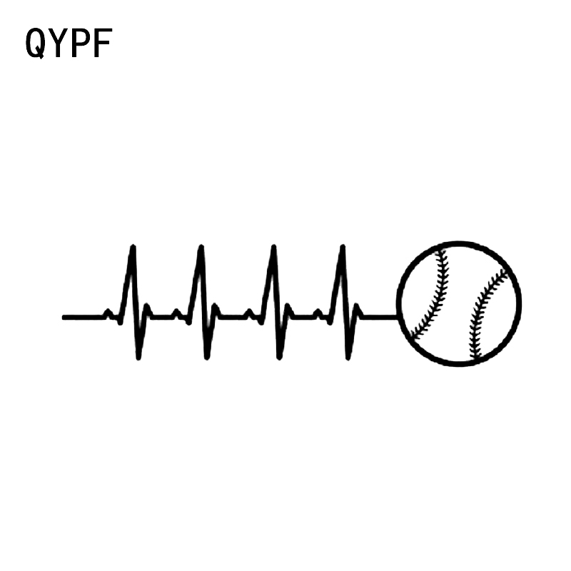 QYPF 16.3*4.5CM Unique Electrocardiogram Baseball Decor Car Styling Sticker Vinyl Silhouette Decals C16-0658