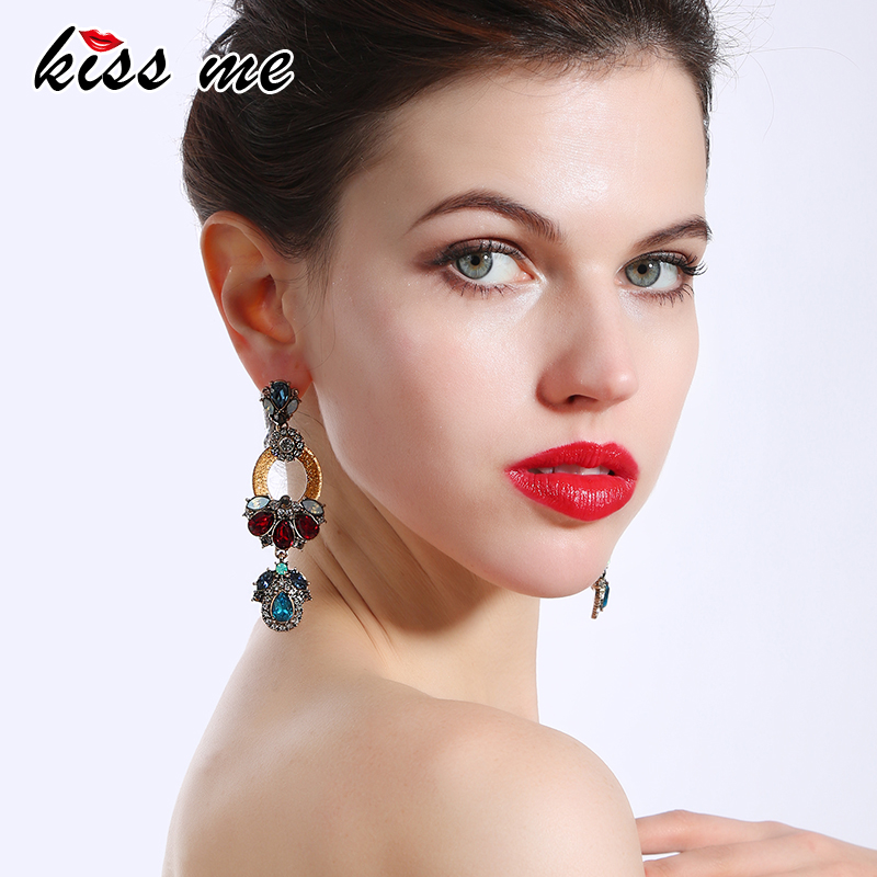 KISS ME Multicolor Geometric Water Drop Earrings Vintage Indian Chunky Long Earrings for Women Fashion Jewelry цены онлайн