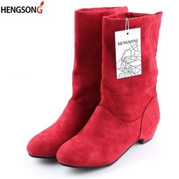 2020 jesienne buty damskie zimowe połowy łydki Martin buty marka moda kobieta elastyczny bawełniany materiał Slip-on buty płaskie buty kobieta tanie i dobre opinie hengsong Cotton Fabric Rzym Stałe women s boots Mieszkanie z Podstawowe Elastycznej tkaniny Okrągły nosek Zima RUBBER