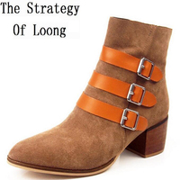 Spring And Autumn Genuine Leather Square Heels Lady Martin Boots Retro Buckle Buckle High Heels Boots