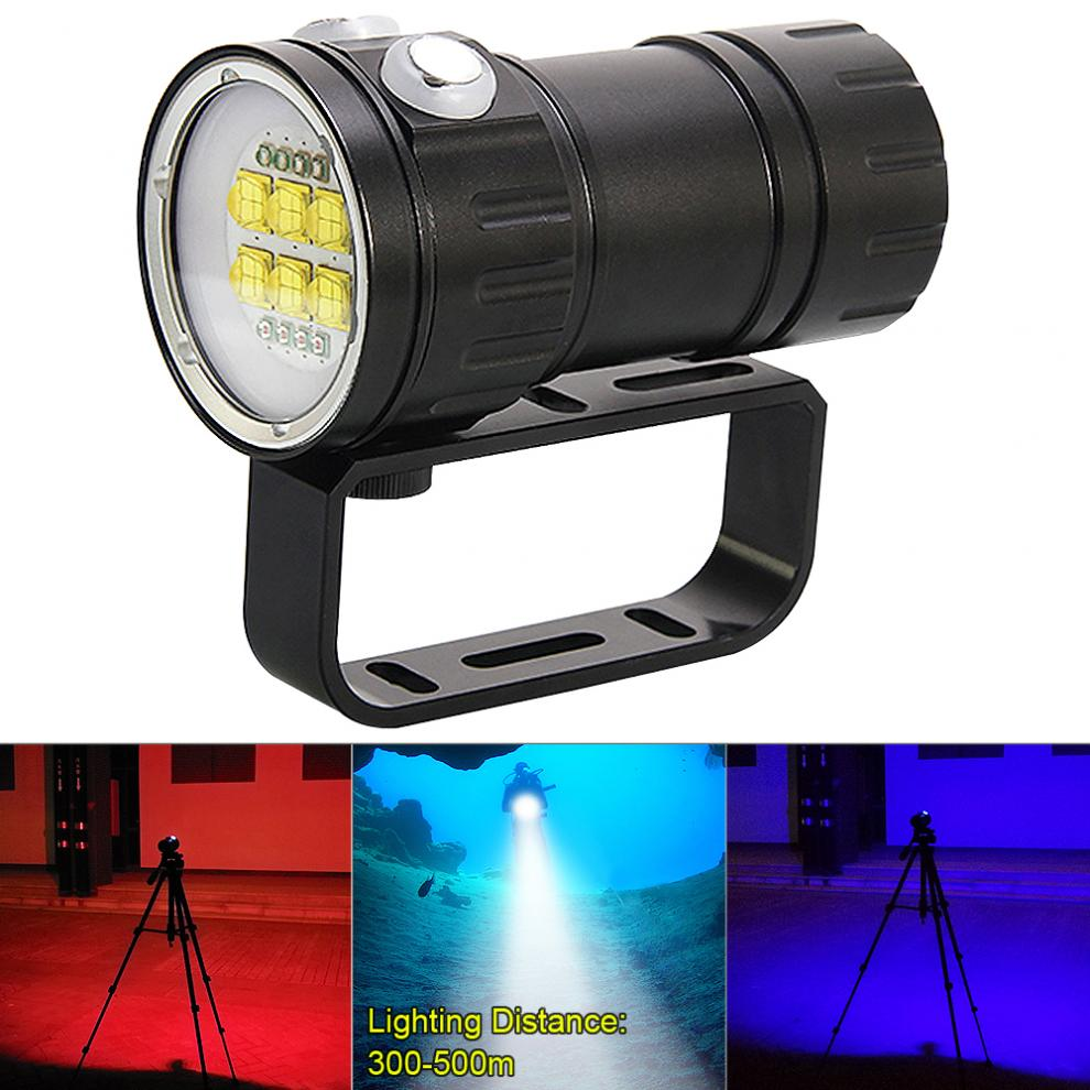 QH14 300W 28800 Lumens Six 9090 White XML2 + Four XPE Red R5 + Four XPE Blue R5 LED Underwater 80m Scuba Diving Canister Light qh14 300w 28800 lumens six 9090 white xml2 four xpe red r5 four xpe blue r5 led diving light with 7 modes flashlight