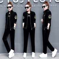 Womens Hoodies Pant Clothing Set Cashmere Thick Warm New Women Embroidery Tracksuit Set 3pcs Tops Pants Coat Suit Female 550#