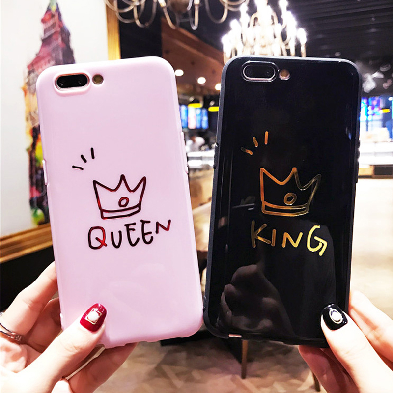 Lovebay Phone Case For iPhone X 8 7 6 6s Plus King Queen Letter Crown Pattern Couples Soft TPU Back Cover Cases For iPhone X