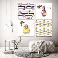 Fashion Perfume Bottle Wall Art Canvas Posters and Prints Women Home Wall Decor Paintings Modern Wall Pictures Set of 4 No Frame