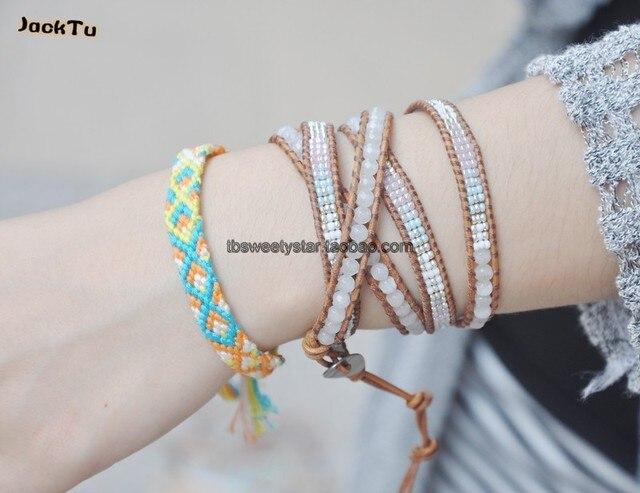 2017 Free Shipping wholesale white beads blue seed beads leather wrap bracelet