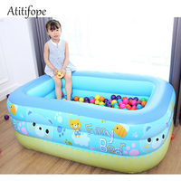 Kids toys Bear Inflatable Swim pool Family Lounge Pool Animal kids Rectangular 3 rings pool multi purpose pool inflatable toy