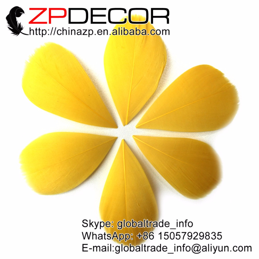 ZPDECOR 3~7cm 200Pieces/lot Fashionable Trimmed Gold Goose Nagoire Feather Petal for DIY Jewelry Decoration