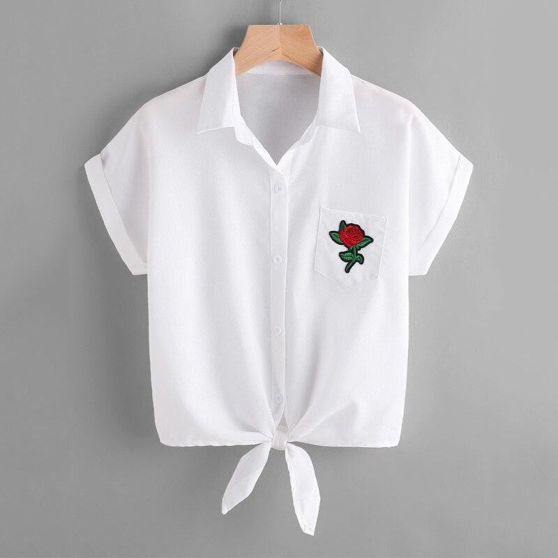 elinkmall Women Blouse Ladies Rose Flower Blouses Short Sleeve Shirt Casual Women Blouses