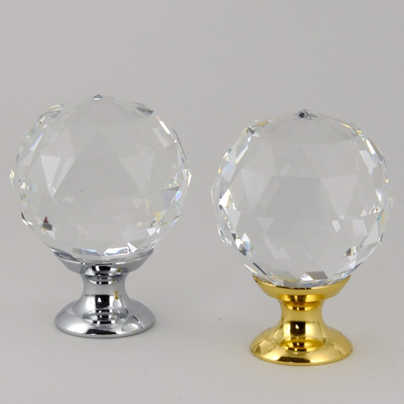 Crystal glass dril Kitchen Drawer Cabinet Door Handle Furniture Knobs Hardware Cupboard Antique Brass Shell Pull Handles